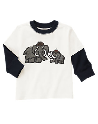 Toddler Boys Ivory Woolly Mammoth Double Sleeve Tee by Gymboree