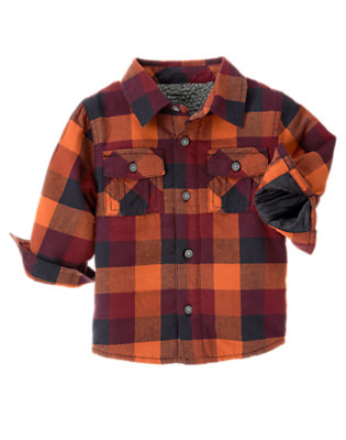 Toddler Boys Orange Ochre Plaid Plaid Flannel Shacket by Gymboree