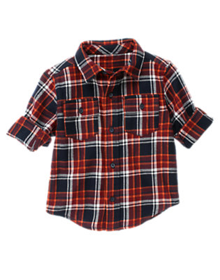 Navy Plaid Plaid Flannel Shirt by Gymboree
