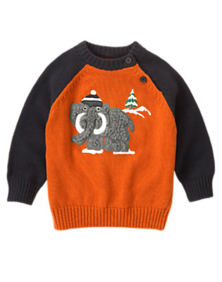 Orange Ochre Woolly Mammoth Sweater by Gymboree