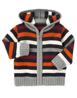 Heather Grey Stripe Stripe Hooded Zip Cardigan by Gymboree