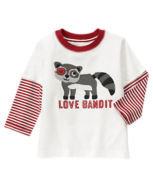 Ivory Love Bandit Raccoon Double Sleeve Tee by Gymboree