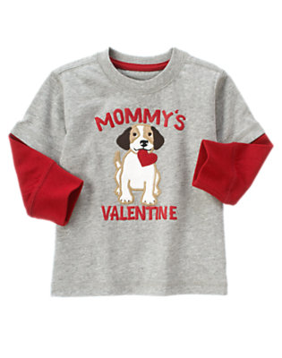 Heather Grey Mommy's Valentine Puppy Double Sleeve Tee by Gymboree