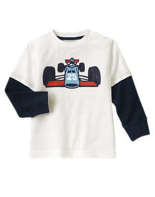 Boys Ivory Race Car Double Sleeve Tee by Gymboree