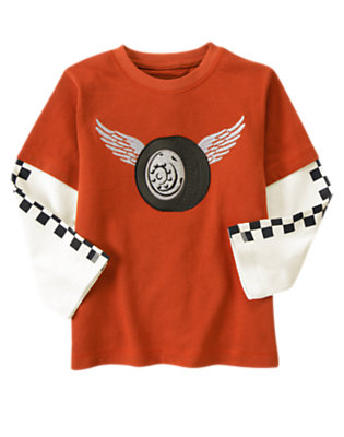 Orange Red Winged Wheel Double Sleeve Tee by Gymboree
