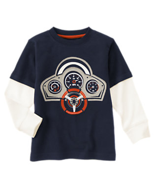 Midnight Blue Dashboard Double Sleeve Tee by Gymboree