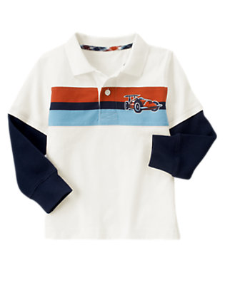 Boys Ivory Race Car Stripe Double Sleeve Polo Shirt by Gymboree