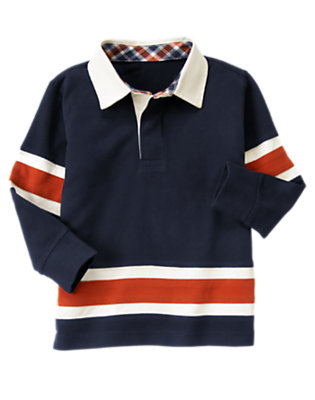 Boys Midnight Blue Pieced Stripe Rugby Shirt by Gymboree