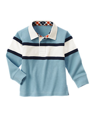 Boys Blue Skies Pieced Stripe Rugby Shirt by Gymboree