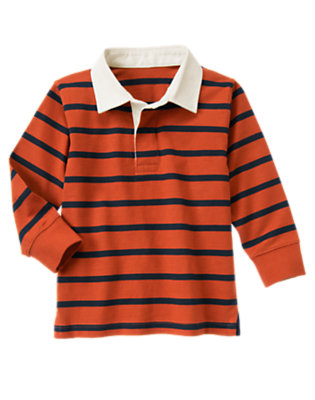 Boys Orange Red Stripe Stripe Rugby Shirt by Gymboree