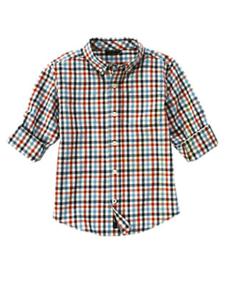 Midnight Blue Check Checked Shirt by Gymboree
