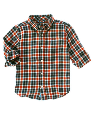 Orange Red Plaid Plaid Flannel Shirt by Gymboree