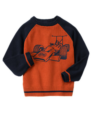 Orange Red Race Car Sweater by Gymboree