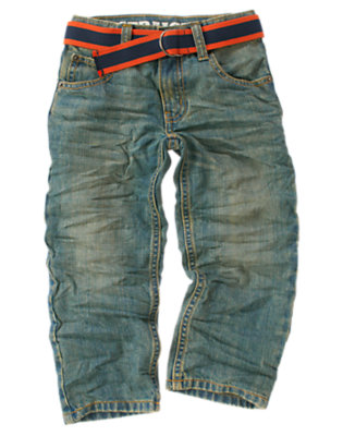 Boys Denim Stripe Belted Jean by Gymboree