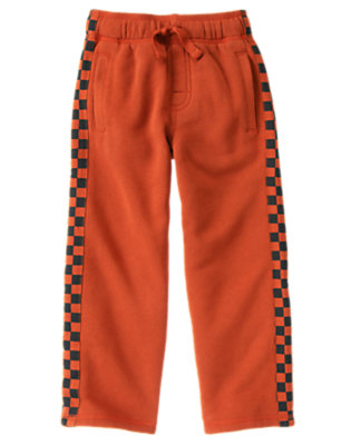 Boys Orange Red Checkered Panel Fleece Pant by Gymboree