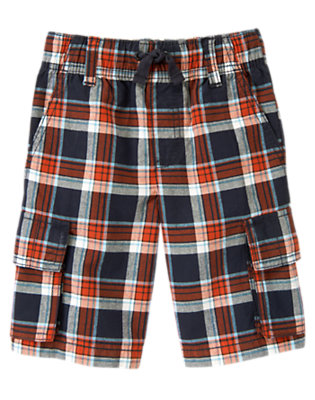 Midnight Blue Plaid Plaid Pull-On Cargo Short by Gymboree