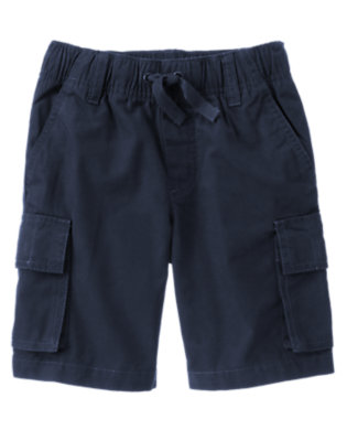 Boys Gym Navy Pull-On Canvas Cargo Short by Gymboree