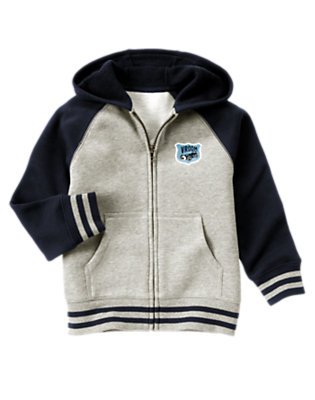 Heather Grey Race Car Patch Hoodie by Gymboree