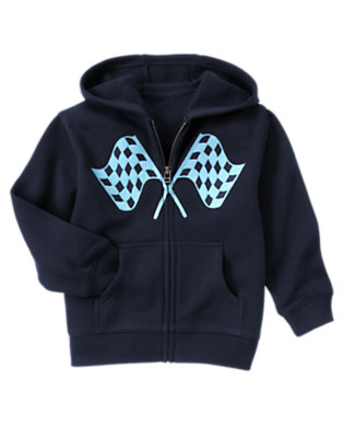 Midnight Blue Racing Flags Hoodie by Gymboree