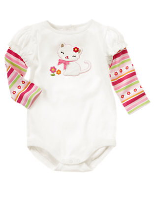 Ivory Kitty Stripe Double Sleeve Bodysuit by Gymboree