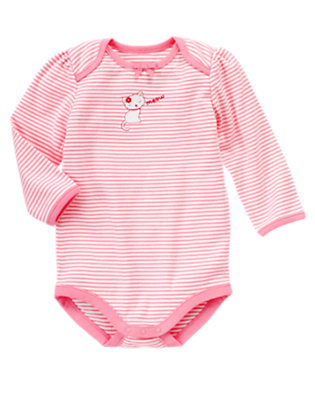 Baby Light Pink Stripe Kitty Stripe Bodysuit by Gymboree