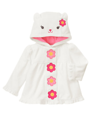Baby Ivory Kitty Flower Velour Hoodie by Gymboree