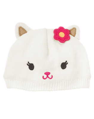 Ivory Kitty Sweater Hat by Gymboree
