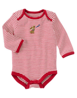 Red Puppy Stripe Bodysuit by Gymboree