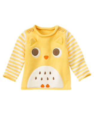 Yellow Owl Stripe Sweater by Gymboree