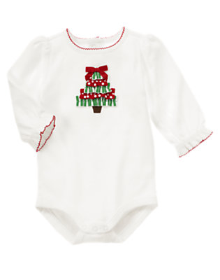 Ivory Ribbon Tree Bodysuit by Gymboree