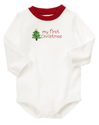 Ivory My First Christmas Bodysuit by Gymboree