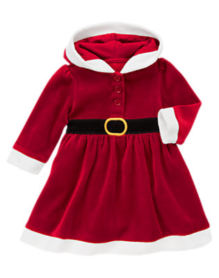 Santa Red Velour Santa Hooded Dress by Gymboree