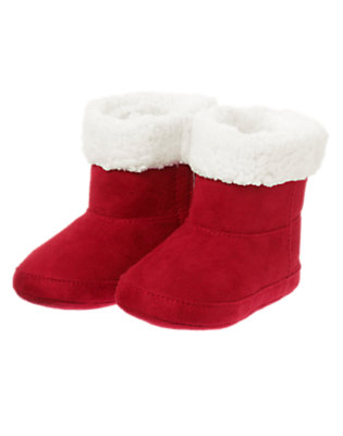 Santa Red Faux Suede Cuffed Crib Bootie by Gymboree