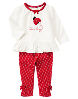 Ivory/Crimson Love Bug Two-Piece Set by Gymboree
