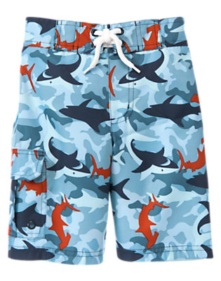 Boys Blue Skies Shark Shark Swim Trunk by Gymboree