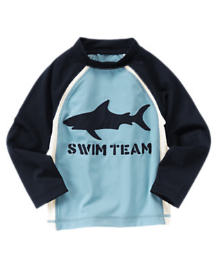 Boys Blue Skies Shark Swim Team Rash Guard by Gymboree