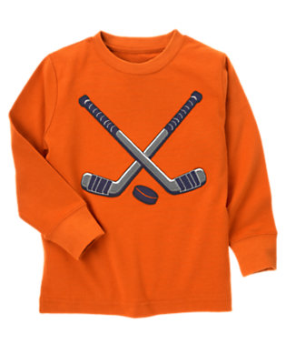 Boys Orange Ochre Hockey Sticks Tee by Gymboree