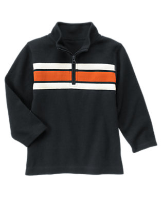 Navy Chest Stripe Half Zip Pullover by Gymboree