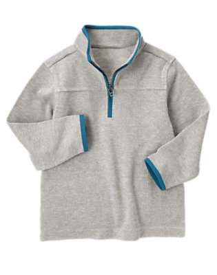 Heather Grey Tipped Half Zip Pullover by Gymboree