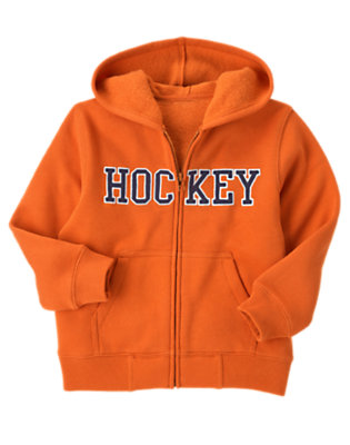 Orange Ochre Hockey Zip Hoodie by Gymboree