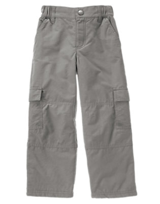 Boys Asphalt Grey Microfleece Lined Cargo Pant by Gymboree