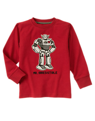 Boys Real Red Valentine Robot Tee by Gymboree