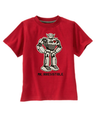 Boys Real Red Valentine Robot Short Sleeve Tee by Gymboree