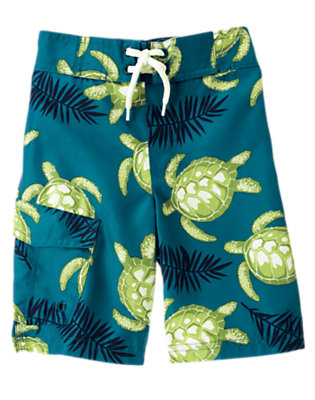 Boys Teal Blue Sea Turtle Swim Trunk by Gymboree