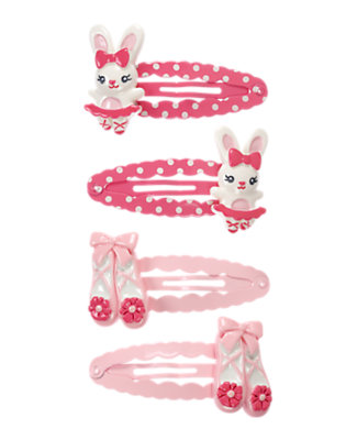 Girls Ballerina Pink Ballerina Bunny Snap Clip Four-Pack by Gymboree