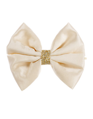 Girls Vanilla Ivory Glitter Bow Hair Pin by Gymboree