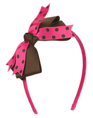 Chocolate Brown Dot Dot Bow Headband by Gymboree