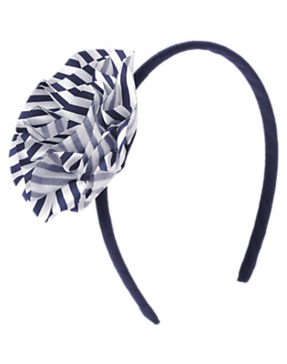Girls Gym Navy Stripe Stripe Flower Headband by Gymboree