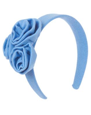 Girls Periwinkle Blue Rosette Jersey Headband by Gymboree