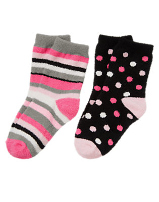 Girls Black Dot Stripe Dot Chenille Sock Two-Pack by Gymboree